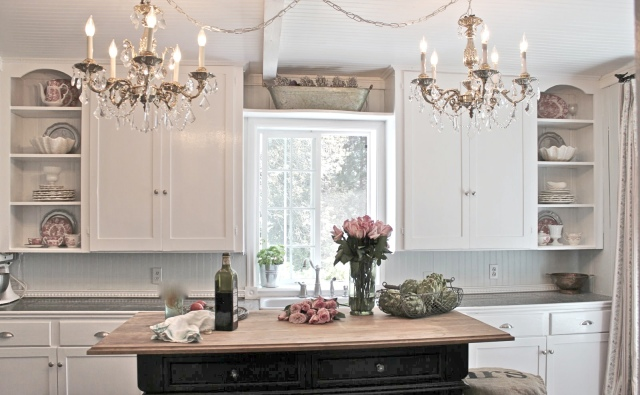 couple-candle-chandeliers-and-pretty-french-country-kitchen-with-mini-island-design-also-cool-wall-open-shelves