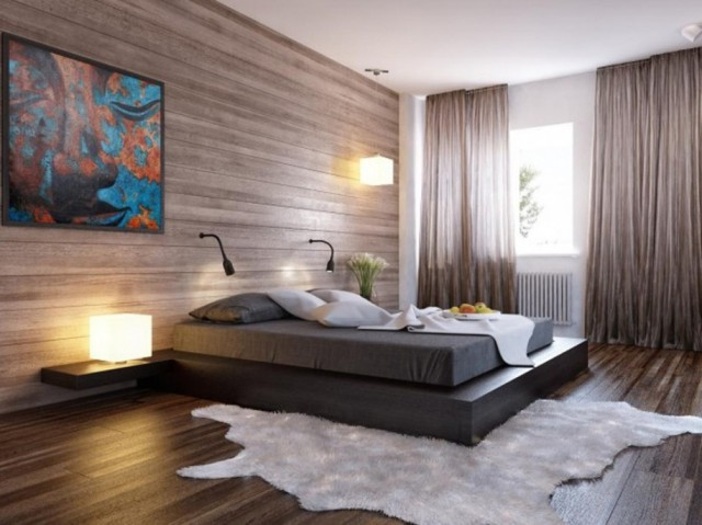 calm-bedroom-design-ideas-for-couples-black-wooden-floor-white-rug
